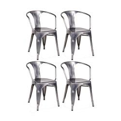 Place furniture Replica Xavier Pauchard Tolix Armchair gunmetal set of 4