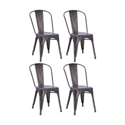 Place furniture Replica Xavier Pauchard Tolix Chair gunmetal set of 4