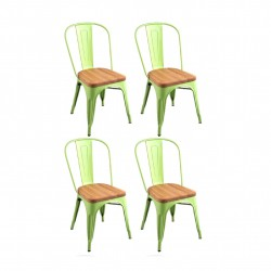Place furniture Replica Xavier Pauchard Tolix Chair wood seat  set of 4 green