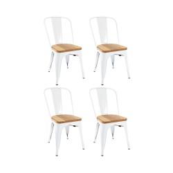 Place furniture Replica Xavier Pauchard Tolix Chair wood seat  set of 4