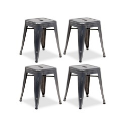 Place furniture Replica Xavier Pauchard Tolix Stool 45cm gunmetal set of 4