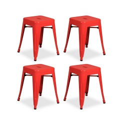 Place furniture Replica Xavier Pauchard Tolix Stool 45cm set of 4 red