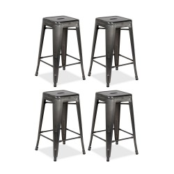 Place furniture Replica Xavier Pauchard Tolix Stool 65cm gunmetal set of 4