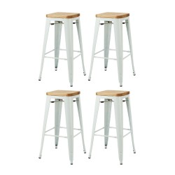 Place furniture Replica Xavier Pauchard Tolix Stool 75cm Wood Seat  set of 4