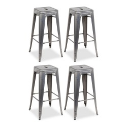 Place furniture Replica Xavier Pauchard Tolix Stool 75cm gunmetal set of 4