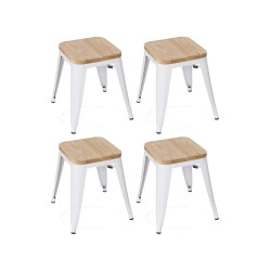 Place furniture Replica Xavier Pauchard wooden seat Tolix Stool 45cm set of 4