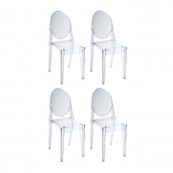 Replica Philippe Starck Victoria Ghost Chair Place furniture SALE Set of 4 Transparent