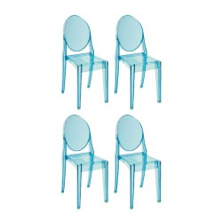 Replica Philippe Starck Victoria Ghost Chair Place furniture SALE Set of 4 Transparent blue
