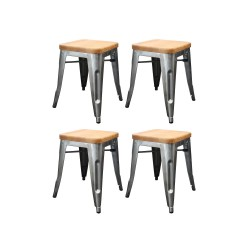 place furniture Replica Xavier Pauchard Tolix Stool 45cm Wood Seat gunmetal set of 4