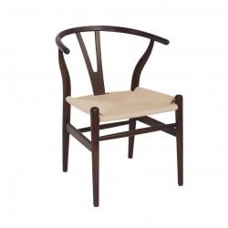 PLACE FURNITURE Replica Hans Wegner Wishbone Chair walnut beech wood natural ratten