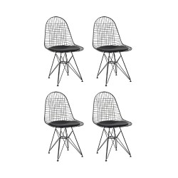 Place furniture REPLICA EAMES WIRE DINING CHAIR set of 4 - all black