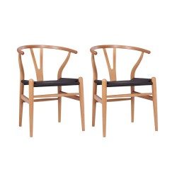 Place furniture Replica Hans Wegner Wishbone Chair natural wood black ratten set of 2