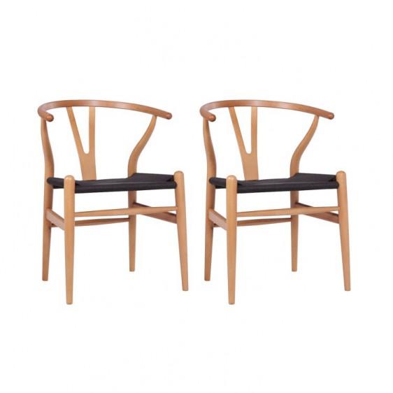 Replica Hans Wegner Wishbone Chair U2013 Natural Frame + Black Rattan (Set Of 2)