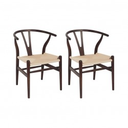 Place furniture Replica Hans Wegner Wishbone Chair walnut wood natural ratten set of 2