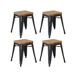 Place furniture Replica Xavier Pauchard wooden seat Tolix Stool 45cm set of 4 black