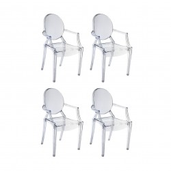 Replica Philippe Starck Louis Ghost Chair clear set of 4
