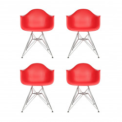 Replica Eames DAR Dining Chair steel leg red