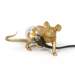 PLACE FURNITURE SELETTI LIGHTING TABLE LAMP 15072_GLD Gold Mouse Lamp Lying Down Lop 01