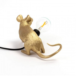 PLACE FURNITURE SELETTI LIGHTING TABLE LAMP 15072_GLD Gold Mouse Lamp Lying Down Lop 05