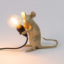 PLACE FURNITURE SELETTI LIGHTING TABLE LAMP 15072_GLD Gold Mouse Lamp Sitting Mac 06