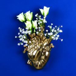 PLACE FURNITURE SELETTI Marcantonio Porcelain Love in Bloom Heart Vase 09921 Gold 11